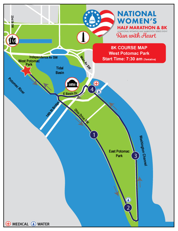 National Women's 8K Course Map