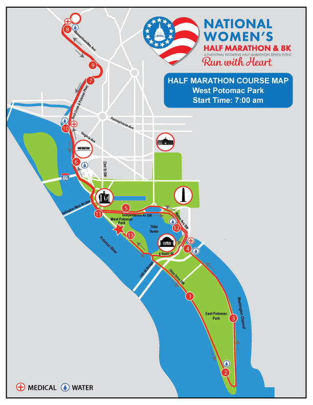 National Women's Half Marathon Course Map
